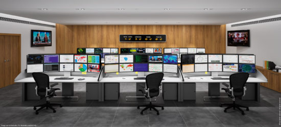 Multiscreen and ergonomic workstation for control and trading room