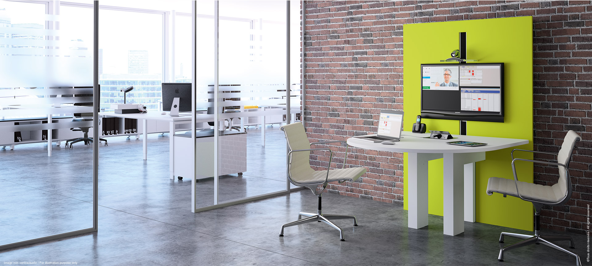I-SHARE - Multimedia meeting table adjustable in height