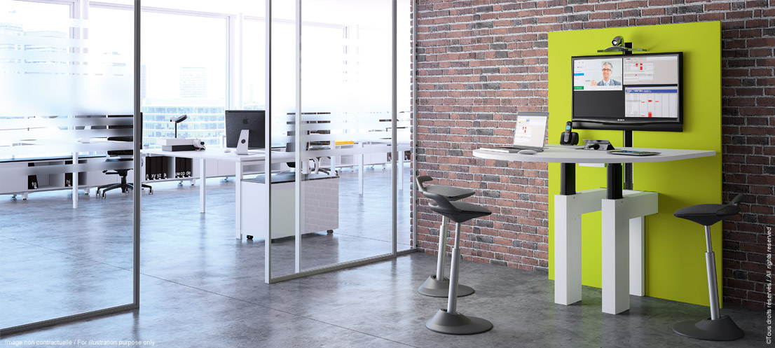 I-Share - Multimedia meeting piece of furniture adjustable in height