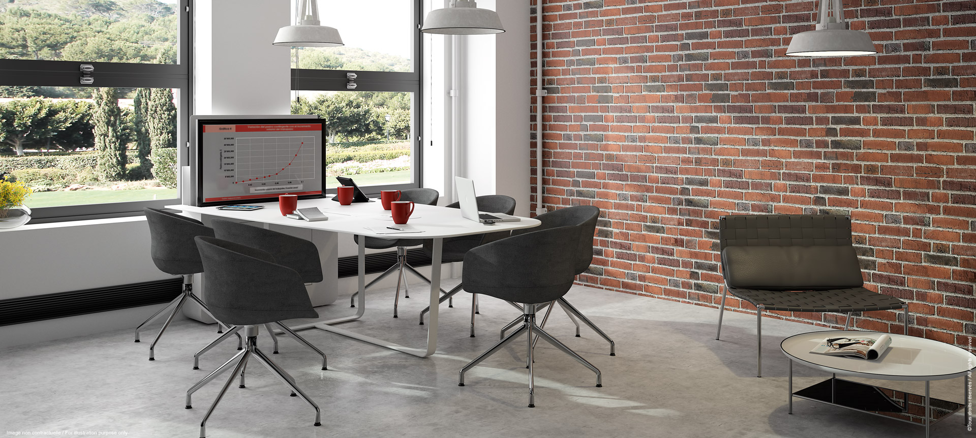 WEMEET SHARE RETRACTABLE -Design meeting table with retractable screen