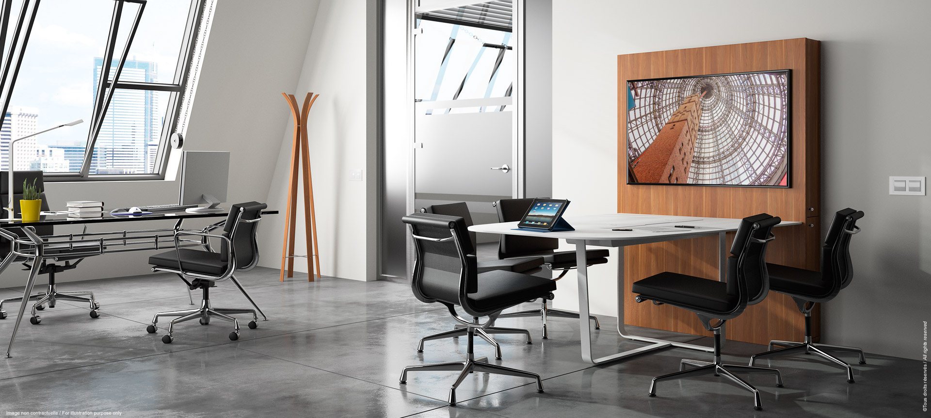 WEMEET SHARE FIXED - Versatile meeting table for collaborative work with screen