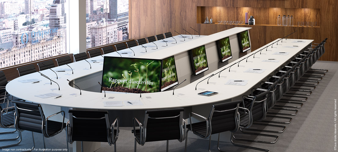 LIFTY - Piece of furniture for boardroom with video relay monitors