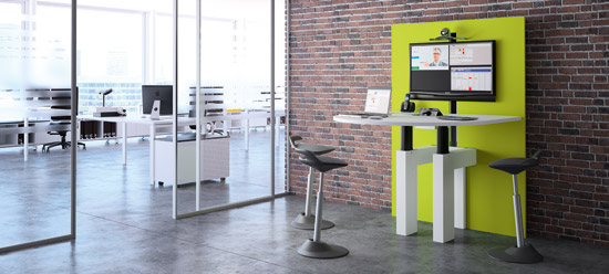 I-Share - Multimedia table adjustable in height for meeting space