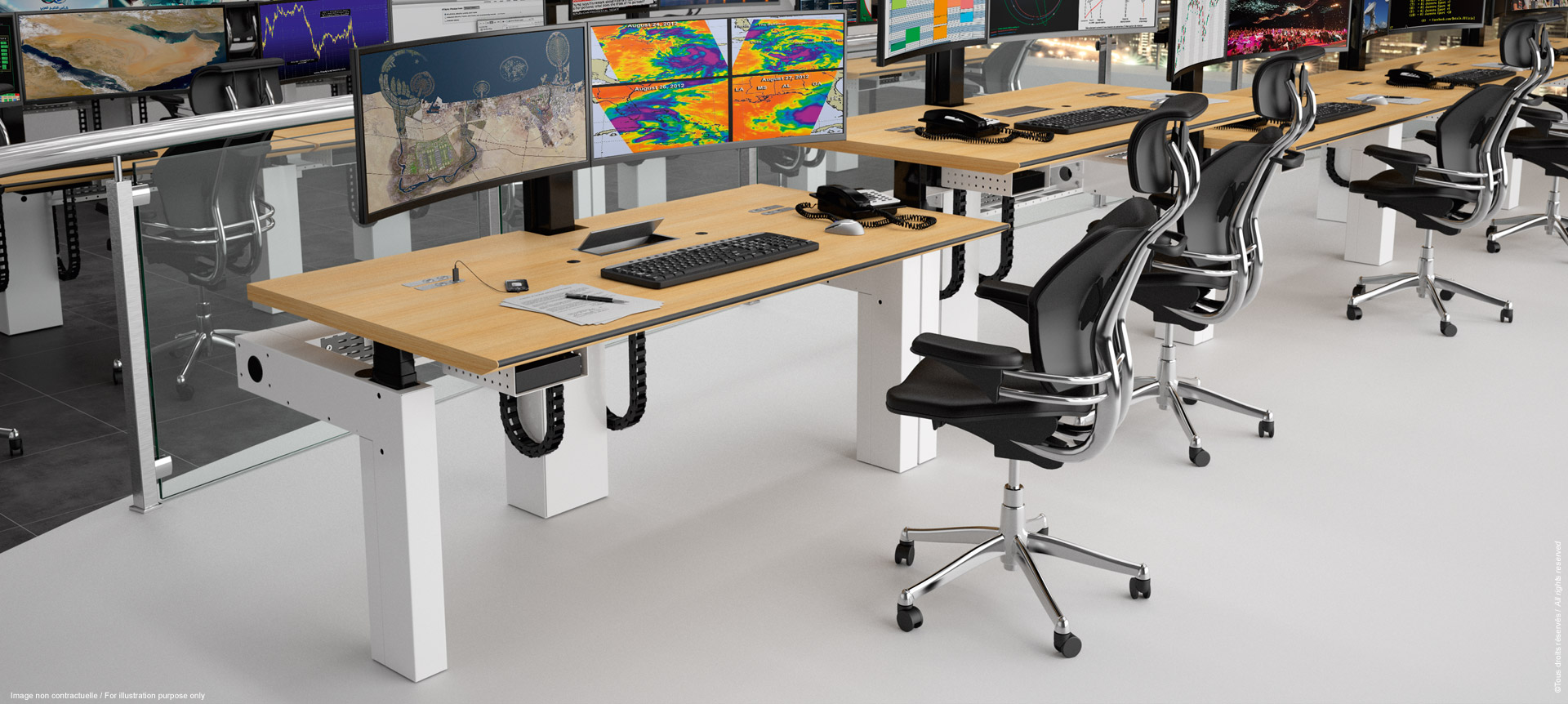 Multiscreen and ergonomic workstation for supervision room