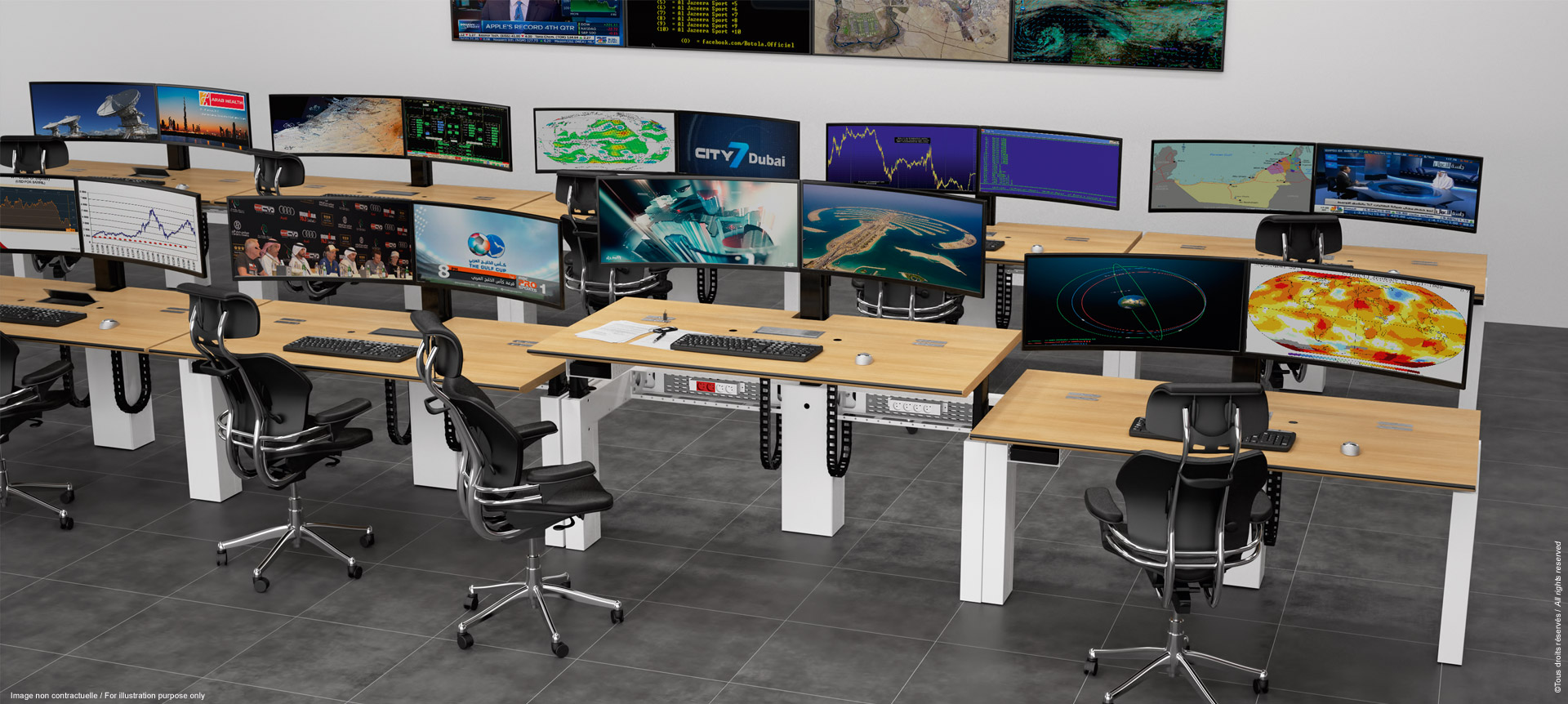 Multiscreen and ergonomic workstation for cyber room