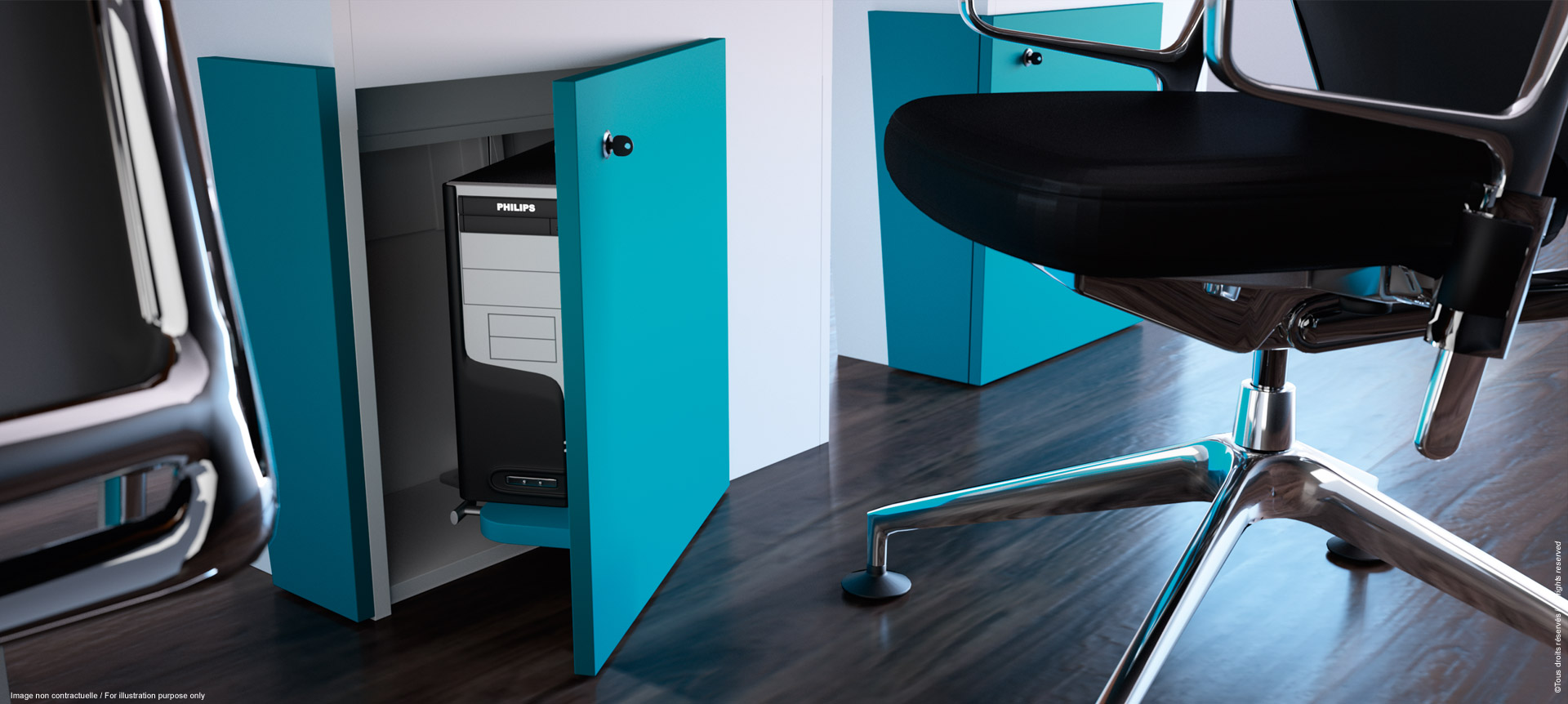 I-Rise - Storage under the all-purpose meeting table