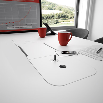 WEMEET SHARE RETRACTABLE - Table for coworking and projects introductions to customers