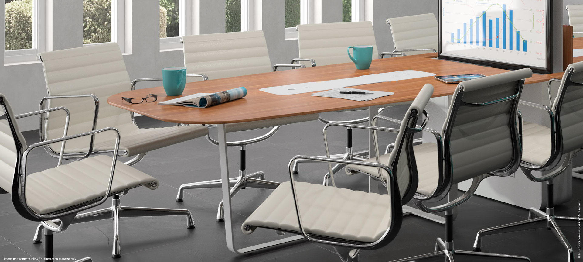 WEMEET MIXED - Meeting table for coworking or training with retractable screen