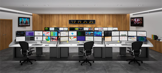 I-KUBE - Multiscreen workstations for cyber defense room