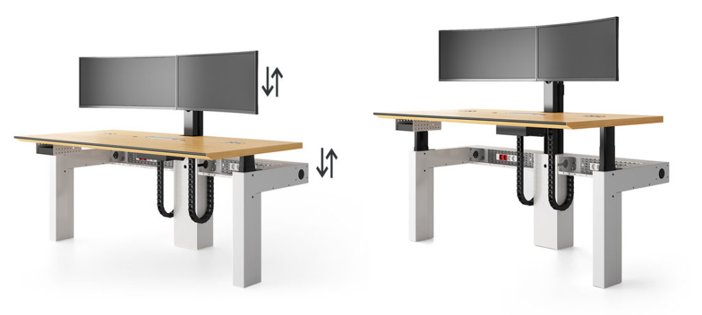 Multiscreens workstations ajustable in height for RTE