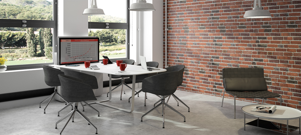 Design meeting table with retractable screen