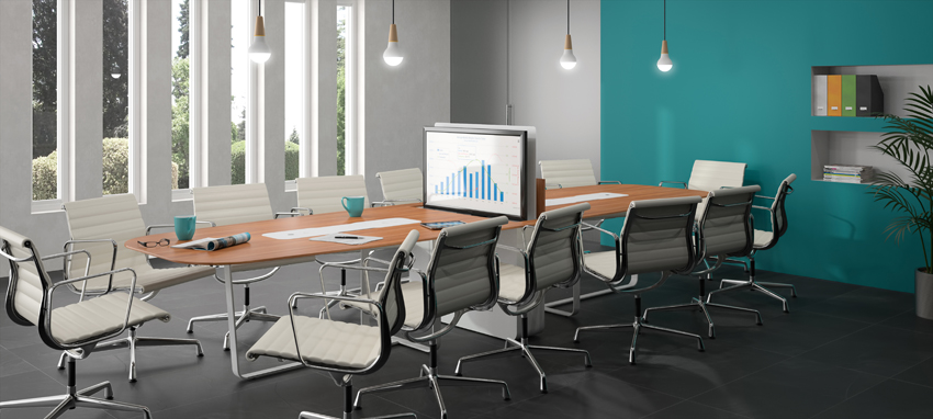 connected meeting table with retractable screen