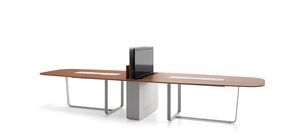 Large connected meeting table with retractable screen