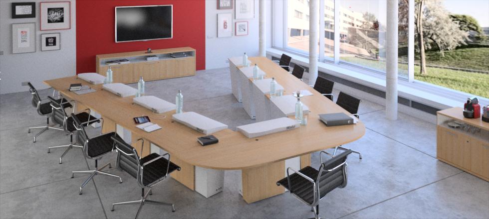 I-RISE - table de réunion polyvalente - formation, visioconférence, crise avec écrans intégrés