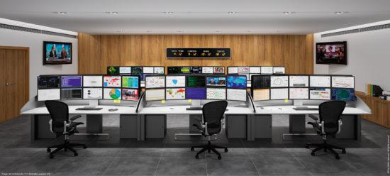 Bureaux ergonomiques multi-écrans salle de cybersécurité
