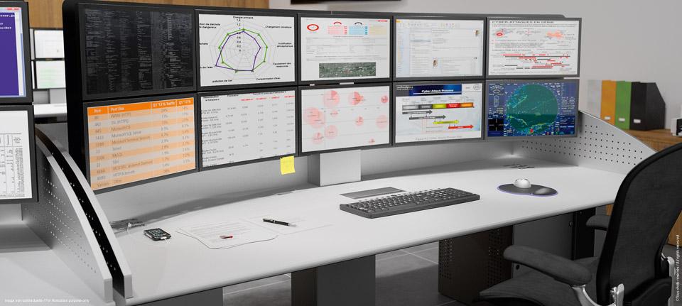 I-KUBE Poste assis-debout multi-écrans pour salle de contrôle