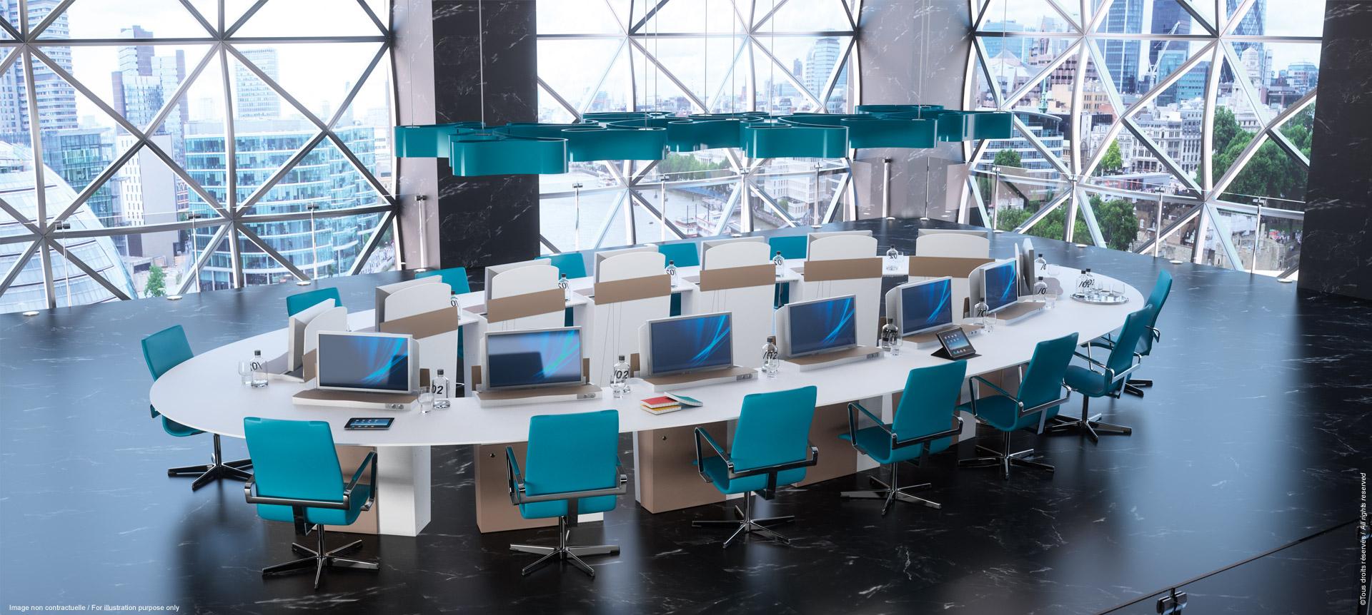 I-RISE - table de réunion modulable en table de formation, visioconférence, crise