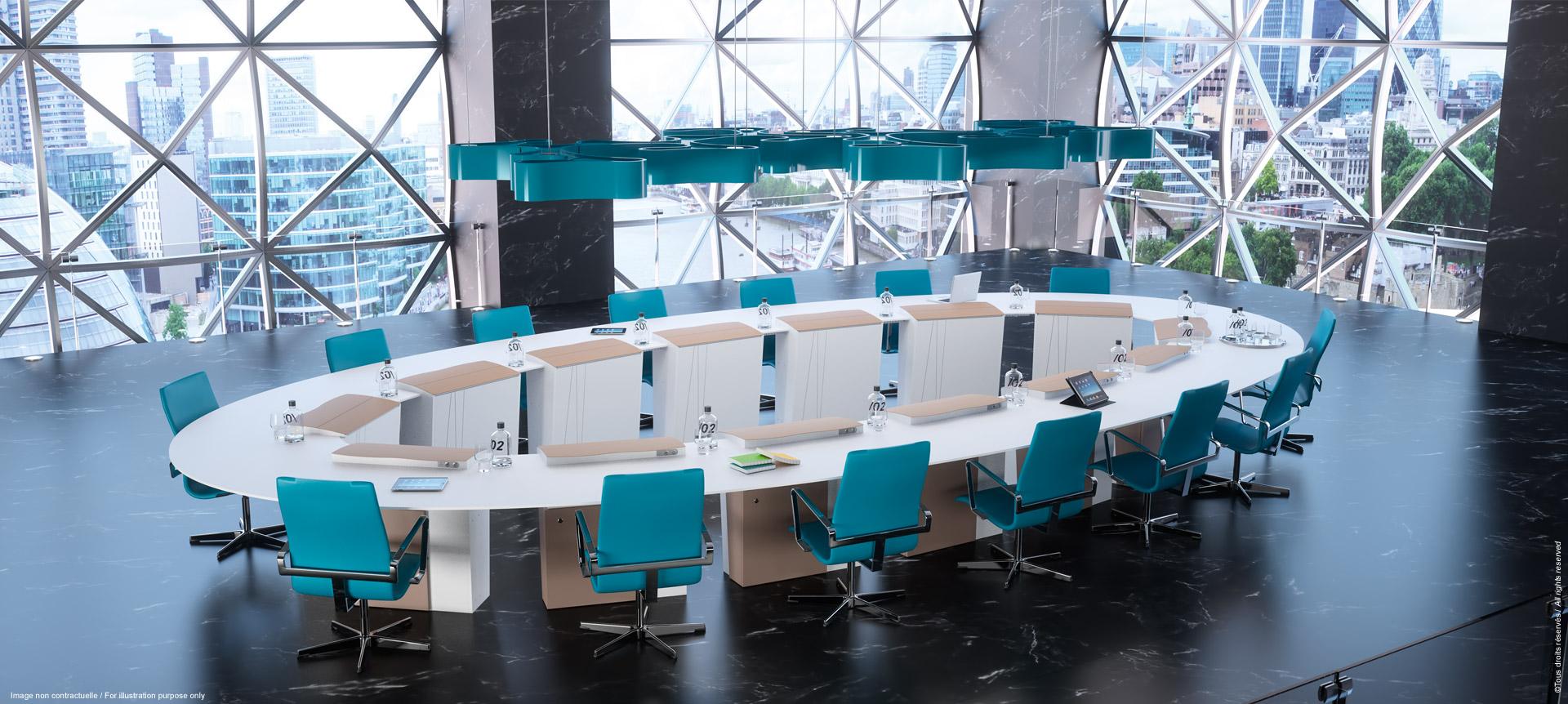 I-RISE - table de réunion polyvalente connectée - formation, visioconférence, crise
