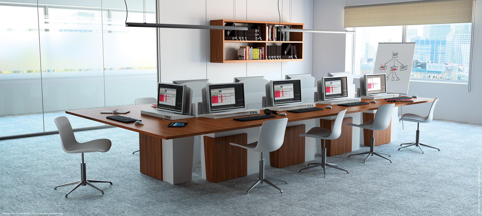 I-RISE - table pour salle de éunion polyvalente - formation, visioconférence, crise