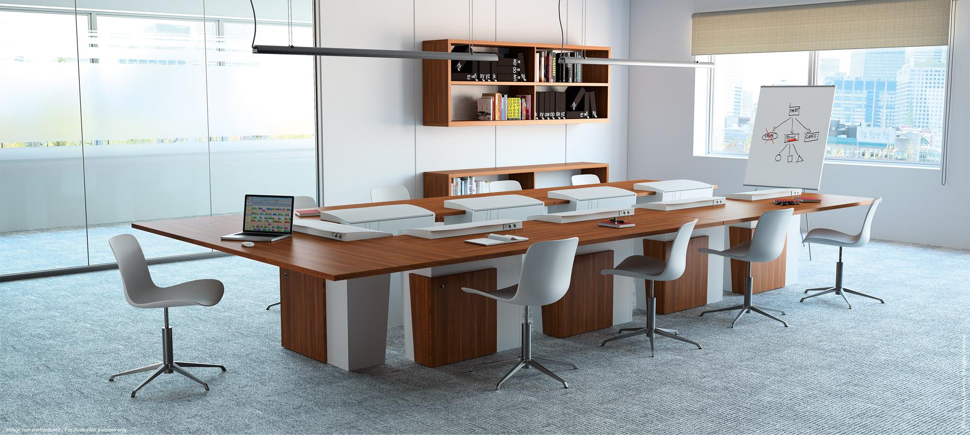 I-RISE - table de réunion polyvalente pour salle de formation, visioconférence, crise