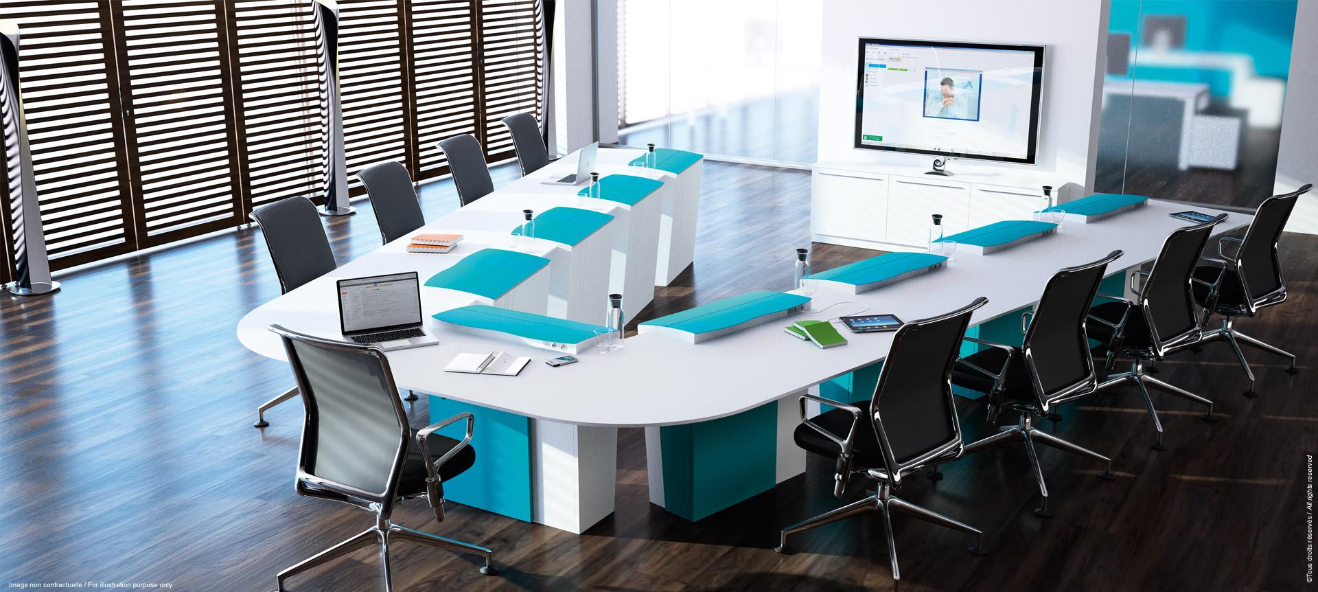 I-RISE - table de réunion polyvalente avec écrans escamotables