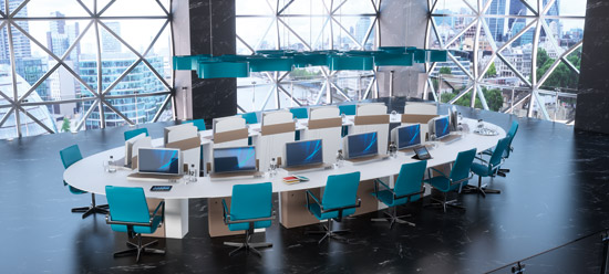 Table réunion modulable, écran escamotable formation, visioconférence, crise