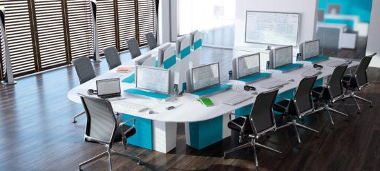 Table de réunion polyvalente  avec écran escamotable configuration formation