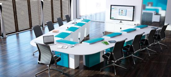Table de réunion polyvalente  avec écran escamotable configuration visioconférence