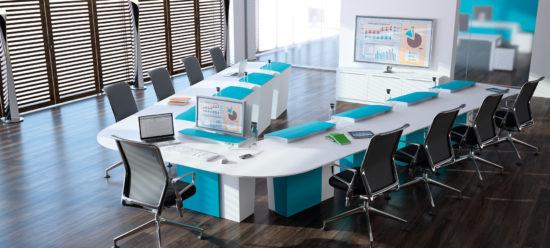 Table de réunion polyvalente  avec écran escamotable configuration réunion