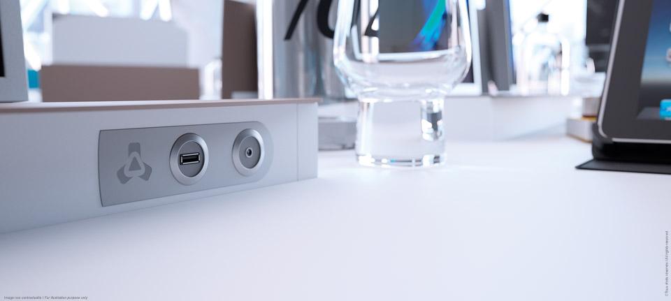 I-RISE - table de réunion polyvalente avec connectiques intégrées