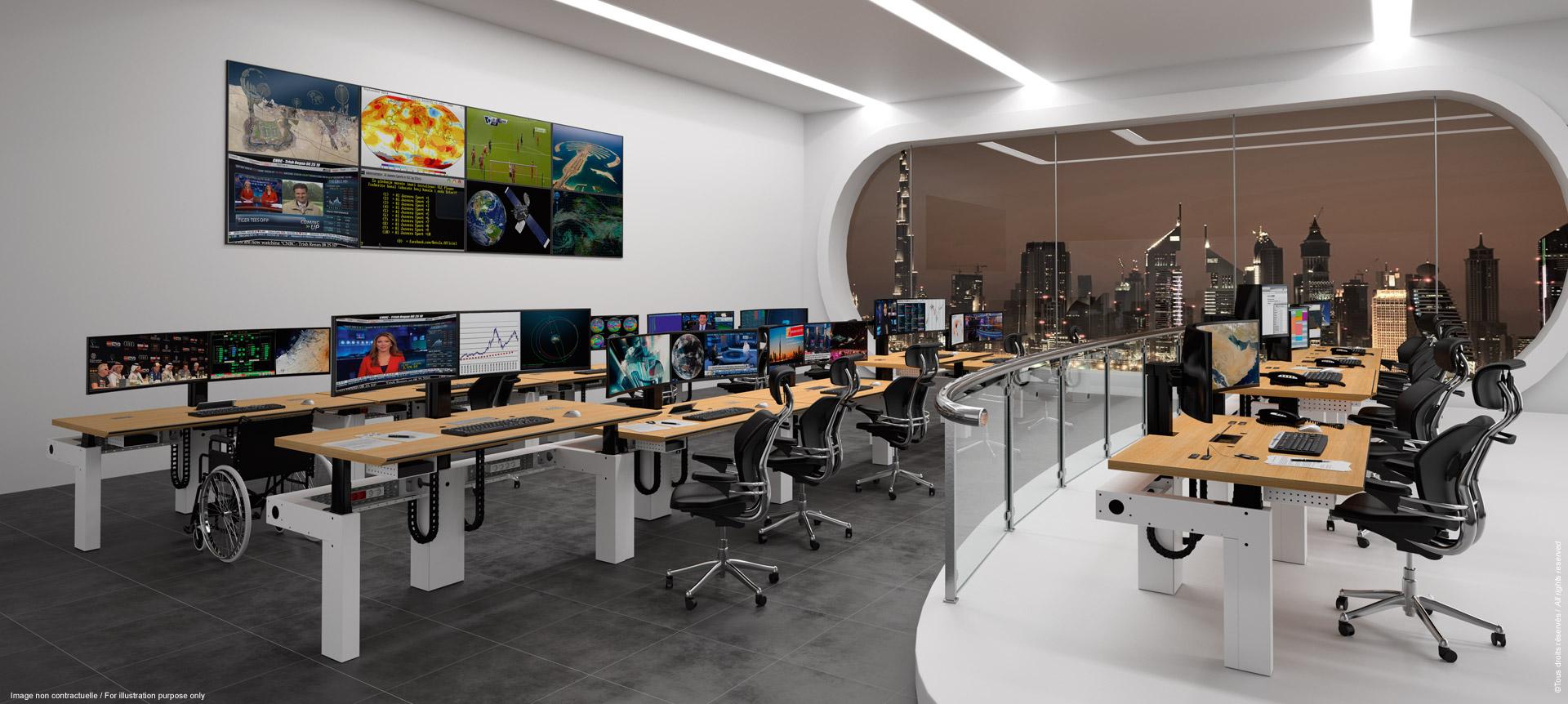 I-KUBE : Poste de travail multi-écran ergonomique pour salle de contrôle