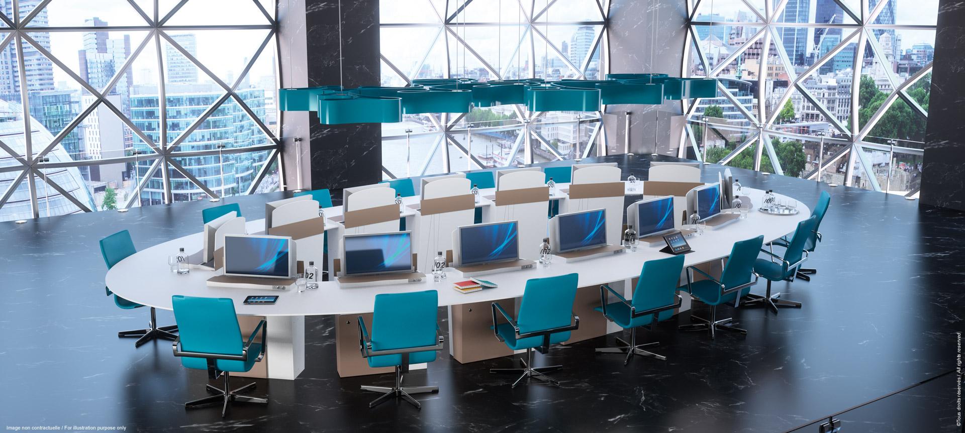 Une salle de réunion convertible en un clin d'œil en salle de formation ou de visioconférence