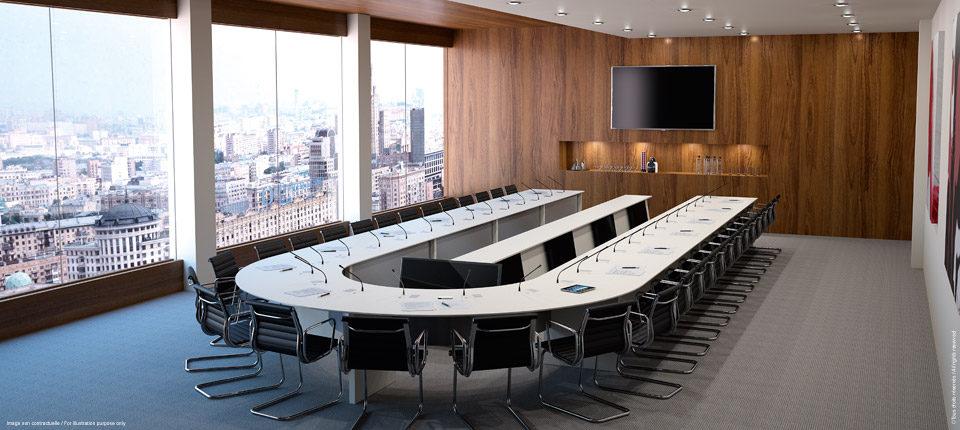 LIFTY - Salle de conseil avec totem central- report écrans
