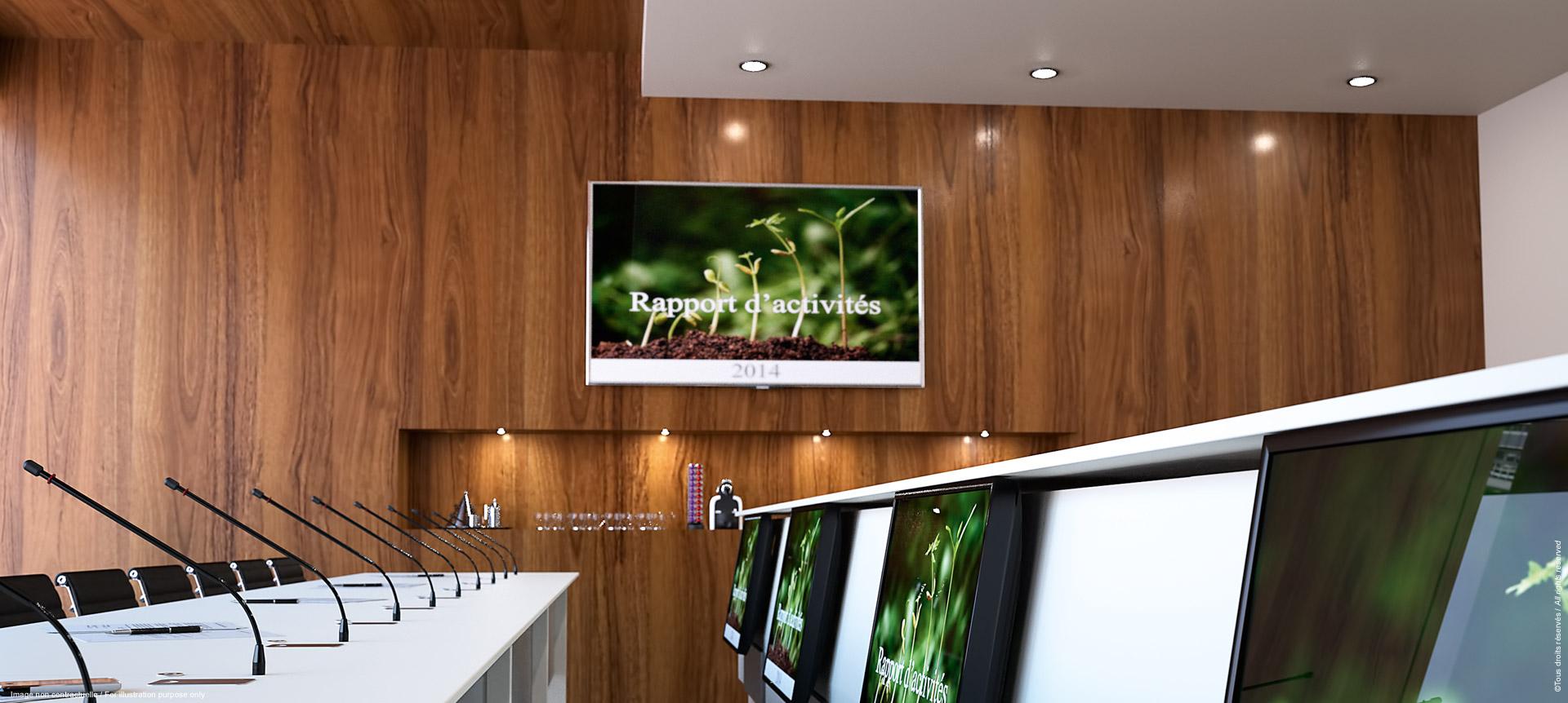 LIFTY - Meuble central pour salle de conférence - report écrans