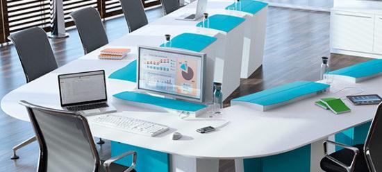 I-RISE : table de réunion, formation avec écrans escamotables et possibilité de visioconférence