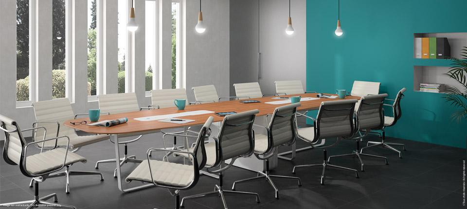 Table réunion connectée polyvalente écran escamotable - écran rentré