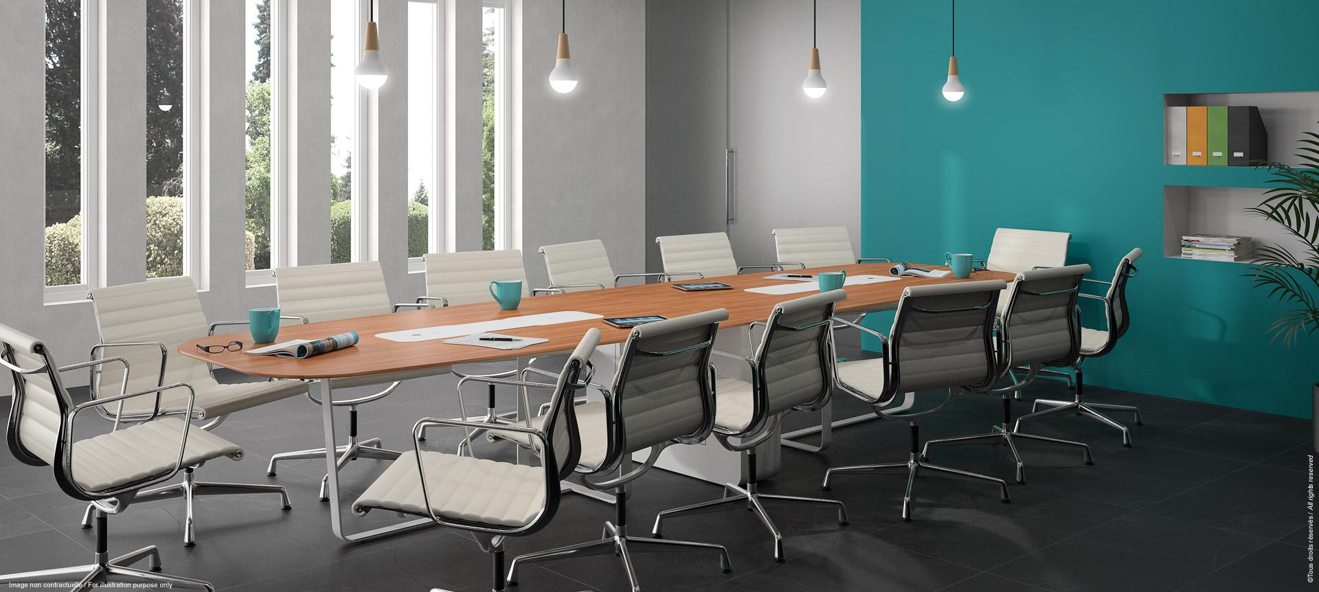 Table de réunion multimédia avec écran escamotable