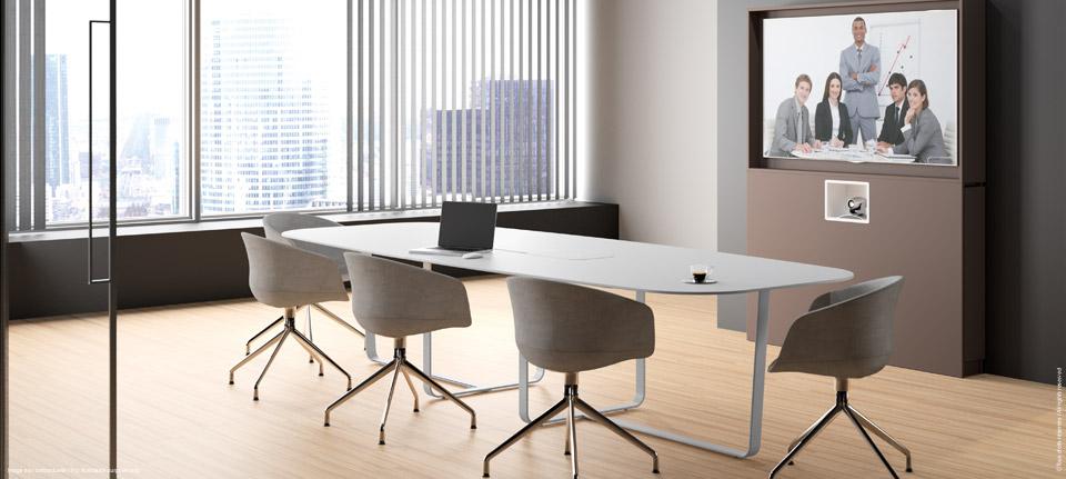 WEMEET REMOTE - Meuble multimédia associé à la table de réunion connectée WeMeet Meeting