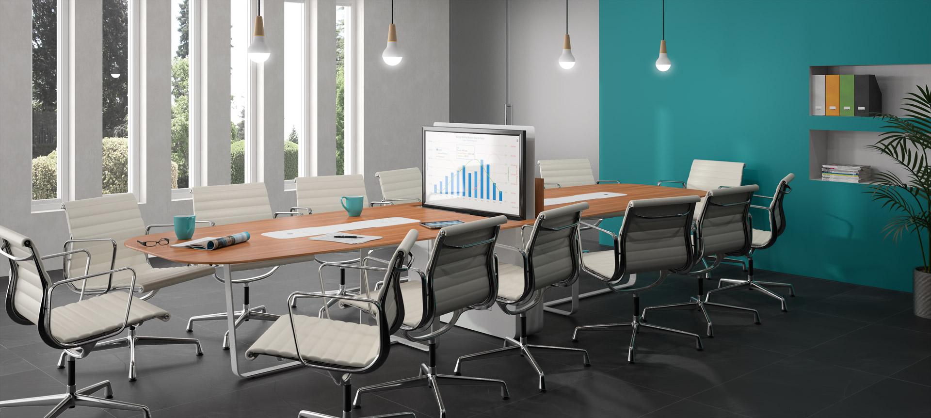 WEMEET MIXED - table de réunion connectée polyvalente avec écran rétractable