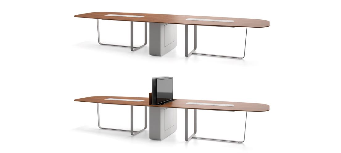 WEMEET MIXED - table de réunion multimédia polyvalente avec écran rétractable pour salle de conseil