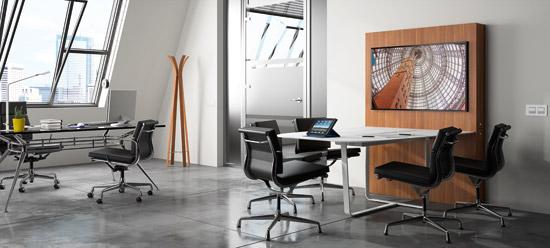 Table et meuble de réunion multimédia pour espace collaboratif