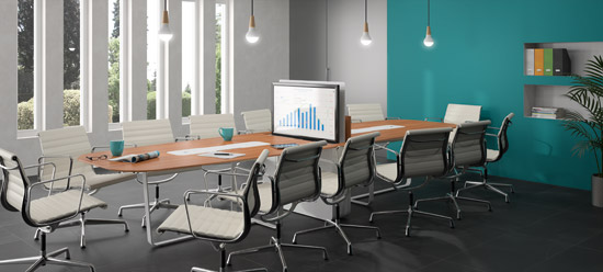 Table multimédia avec écran escamotable pour formation et réunion