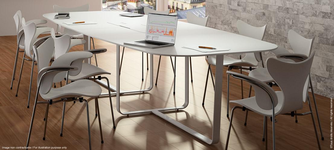 table de réunion connectée et design