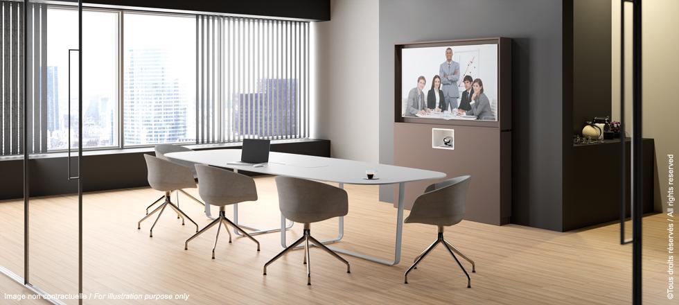 Meuble et table de réunion pour visio-conférence